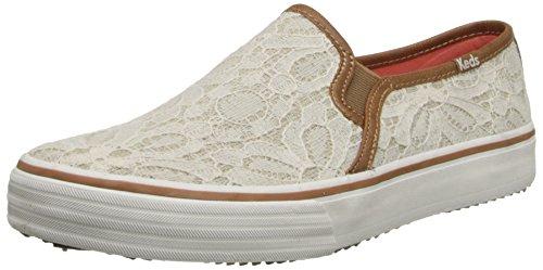 Keds Damen Double Decker Woven Lace Slip On Sneaker, Beige (cremefarben), 37.5 EU