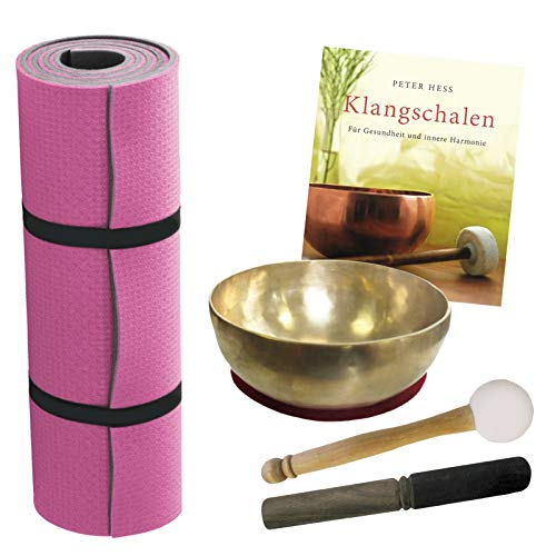 Therapie KLANGSCHALE 6-tlg Klangmassage KOMPLETT Set. KOPFSCHALE 300-400g Handarbeit Nepal + Fitnessmatte + Klöppel + Zubehör + Buch (Peter Hess) 70056