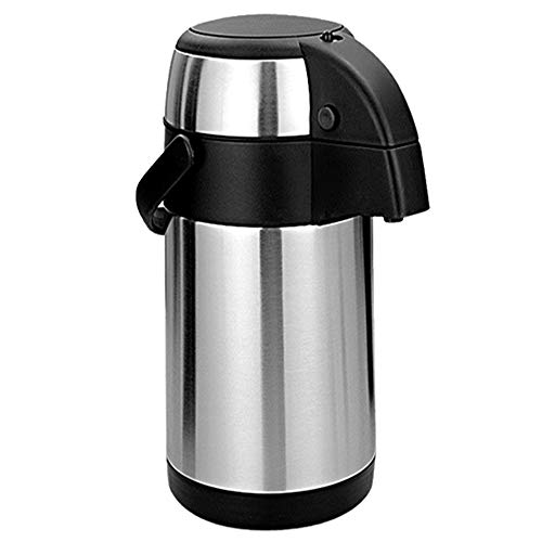 3L / 3000ml Stainless Steel Airpot Air Pot Flask Hot Cold Tea Coffee Pump Action Vacuum Flask by Denny International (Set of 1 Airpot)
