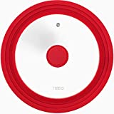 Universal Silicone Glass Lid Covers for Pots and Pans, Tempered Glass & Food Safe Silicone Rubber Rim, Cool-Touch Handle, Steam Vent, Dishwasher-Safe | Multi-Sized Lids (9.5/10/11 inches, Red)