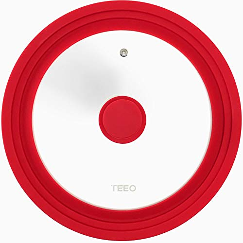 Universal Silicone Glass Lid Covers for Pots and Pans, Tempered Glass & Food Safe Silicone Rubber Rim, Cool-Touch Handle, Steam Vent, Dishwasher-Safe   Multi-Sized Lids (9.5/10/11 inches, Red)