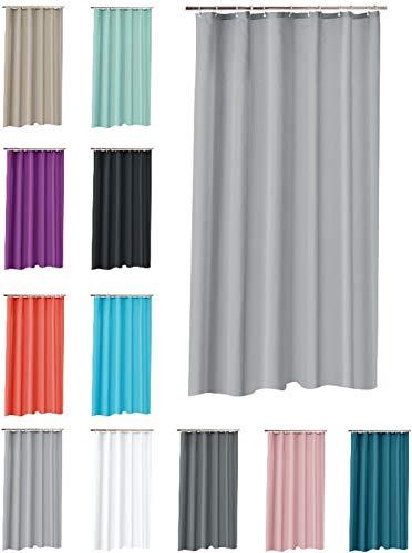 one-home Duschvorhang 180x200 cm wasserdicht Uni Badewannen Vorhang inklusive 12 Ringe, Farbe:grau