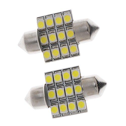MagiDeal 2x 6000~7000K Lumineux LED Ampoule Universel Dôme Lampe de Voiture