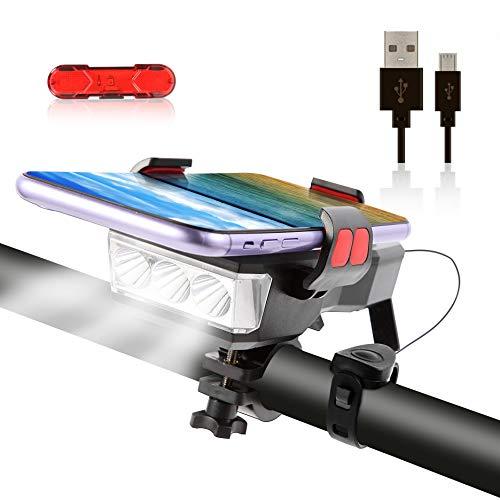 OSHINEW 4 in 1 LED Fahrradlicht, USB Aufladbar Fahradlicht Set, IP65 Wasserdicht Haben DREI Beleuchtungsmodi Können als Fahrradbeleuchtung, Handyhalterung, Lautsprecher, Mobilstrom (4000 mAh)