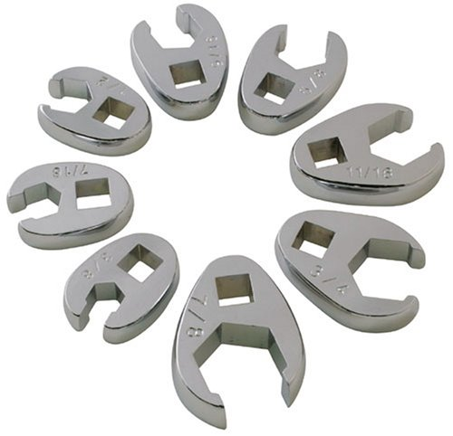 Sunex 9708 3/8-Inch Drive Fractional Crowfoot Flare Nut Wrench Set, 3/8-Inch - 7/8-Inch, Fully Polished, 8-Piece