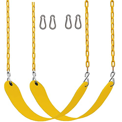 CCTRO 2 Pack Swings Seats Heavy Duty 66quot Chain Plastic Coated  Playground Swing Set Accessories Replacement with Snap Hooks Yellow