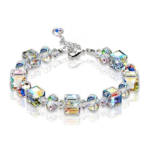 ShenZhenShiJinZhiWeiKeJiYouXianGongSis Sparkling Aurora Crystals Link Chain Pulsera elástica Mujer Joyería de Moda Regalo Pulsera de Forma Cuadrada - Blanco