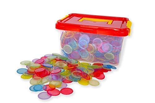 Set fichas Transparentes 1000 Piezas De Juego de Mesa de fichas de póker, fichas de Juego, fichas de plástico Transparentes (5 Colores) + Estuche.