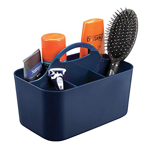 mDesign Plastic Men's Grooming Storage Organizer Caddy Tote - Divided Basket Bin, Handle for Bathroom - Holds Shaving Cream, Razors, Beard Oil, Combs, Brushes, Hair Gel, Cologne - Navy
