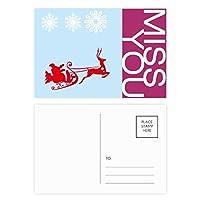 クリスマスのヘラジカ橇の雪片のパターン ポストカードセットサンクスカード郵送側20個ミス