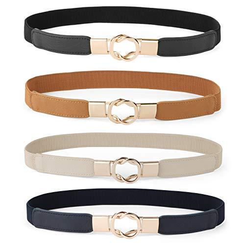 Women Skinny Belt for Dresses Retro Stretch Ladies Waist Belt Plus Size Set of 4(Fits Waist 32-42 Inches,Black+Brown+Blue+Beige)