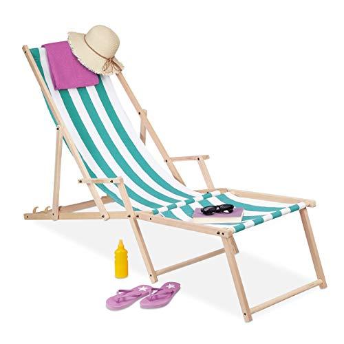 Relaxdays Liegestuhl Holz & Stoff, 3 Liegepositionen, Armlehne & Fußteil, bis 120 kg belastbar, Gartenliege, weiß/blau