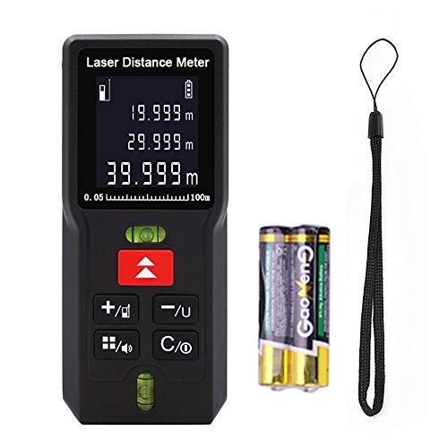 Laser Distance Measure, 328ft Laser Distance Meter M/In/Ft Laser Measure Digital Tape Measure LCD Backlit Measuring Device w/Pythagorean Mode/2 Bubble Levels/Batteries, Measure Distance Area Volume