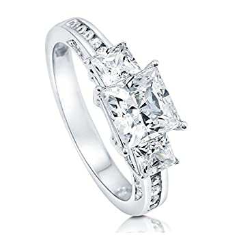 BERRICLE Rhodium Plated Sterling Silver Princess Cut Cubic Zirconia CZ 3-Stone Anniversary Promise Wedding Engagement Ring 2.7 CTW Size 9