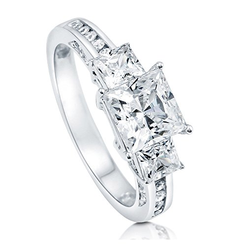 BERRICLE Rhodium Plated Sterling Silver Princess Cut Cubic Zirconia CZ 3-Stone Anniversary Promise Wedding Engagement Ring 2.7 CTW Size 6