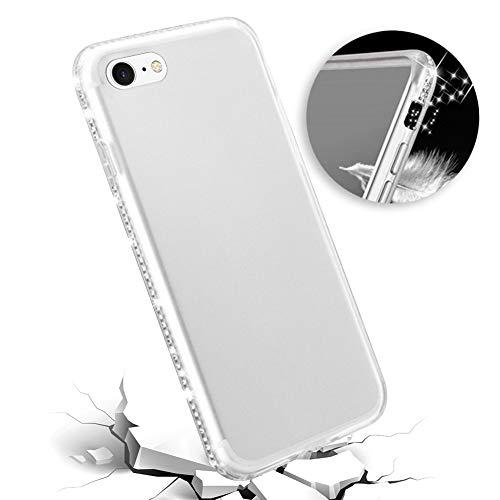 Ysimee Glitzer Hülle kompatibel mit iPhone 8 Handyhülle, Bling Glänzend Strass Diamant Klar Schutzhülle Durchsichtige TPU Silikon Hülle Case, Anti-Shock Kratzfeste Handyhülle, White