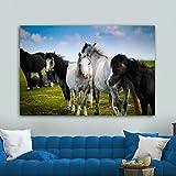 ganlanshu Pittura Senza Cornice Animale Cavallo Art Poster e incisioni su Tela Poster per Soggiorno Decorazione domesticaZGQ5259 80X120 cm