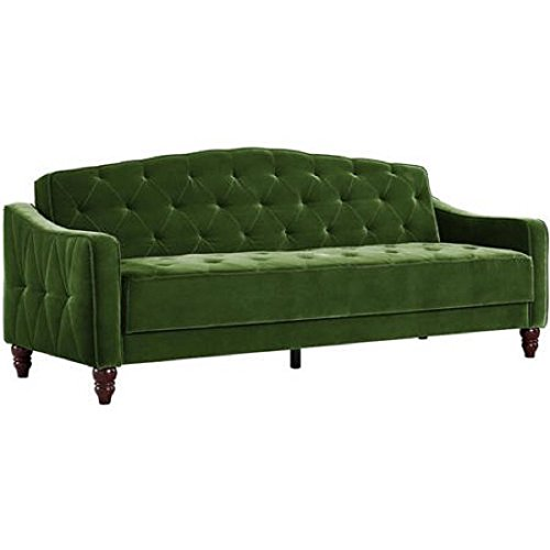 Novogratz Vintage Tufted Sofa Sleeper II (Green Velour) (Green Velour)