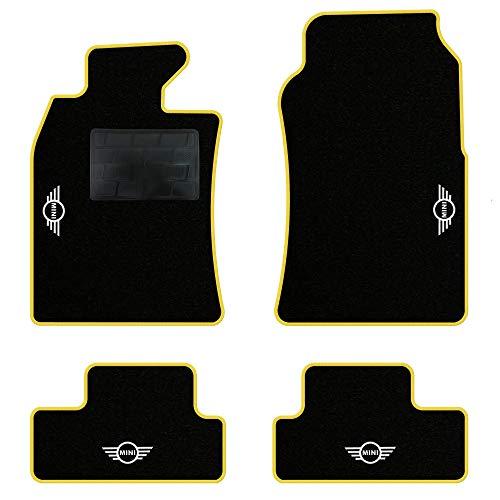 QUEMAR Kit Tappetini Auto per Mini R50 R52 Cabrio R53 / Set di Tappeti in Moquette e Gomma su Misura (2 Anteriori + 2 Posteriori) / 4 Ricami Personalizzati/Colori Personalizzabili (Bordo Giallo)