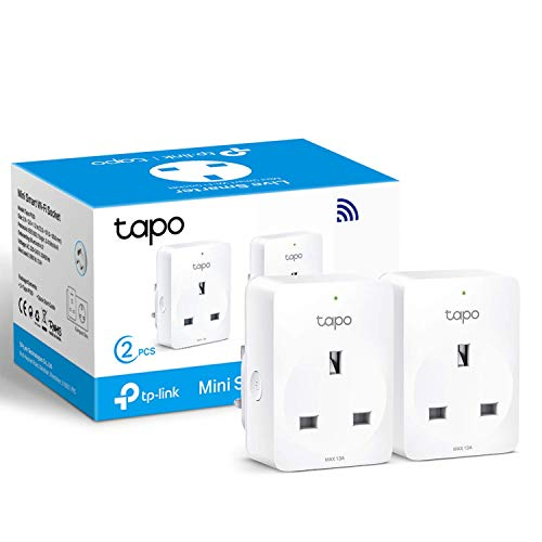 TP-Link Tapo Smart Plug Wi-Fi Outlet, Works with Amazon Alexa (Echo and Echo Dot), Google Home, Wireless Smart Socket, Remote Control Timer Switch, Device Sharing, No Hub Required - Tapo P100 (2-Pack)