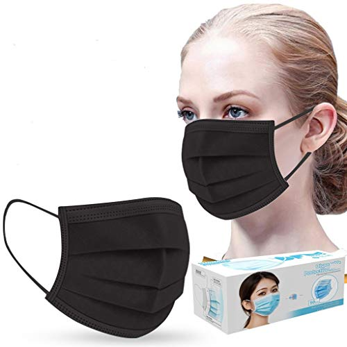 50 Pcs Disposable Black Face_Mask Bandanas Unisex Adults 3 Ply Non-Woven Face_Mask for Coronàvịrụs Protectịon Suitable for Home, Office