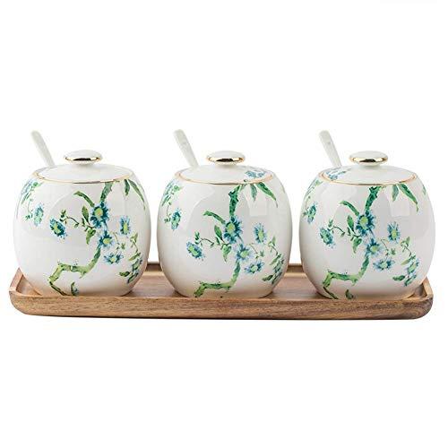 Keramische Gewürztöpfe, Vintage Zuckerdosen Gewürz Aufbewahrungsbehälter mit Deckel Löffel und Holz Serviertablett | Gewürzdosen aus Porzellan im amerikanischen Stil, d