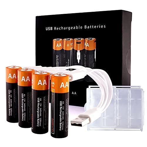 Lithium AA Akkus Wiederaufladbare Batterien, Kamnnor 1,5V 2600mWh Rechargeable Batterien, 1.5H-Schnellladung, mit 4-in-1 USB Typ-C Ladekabel und Aufbewahrungskoffer, 4 Pack