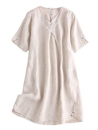 Mordenmiss Women's Linen Tunic Dresses V-Neck Baggy Midi Dress Hi-Low Tops (Nature,XXL)