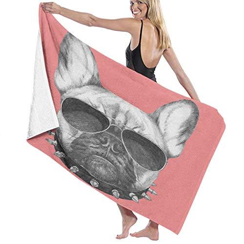 Grande Suave Toalla de Baño Manta,Retrato de Perro de Estilo Dibujado a Mano con Collar y Gafas de Sol sobre Fondo Rosa,Hoja de Baño Toalla de Playa por la Familia Viaje Nadando Deportes,52' x 32'