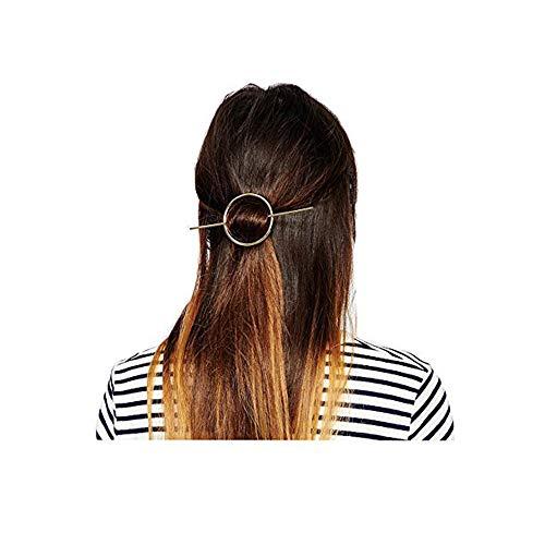 Fashion Women Girls Gold/Silver Plated Metal Round Bar Hair Clips Metal Circle Hairpins Holder Hair Accessories (Gold)