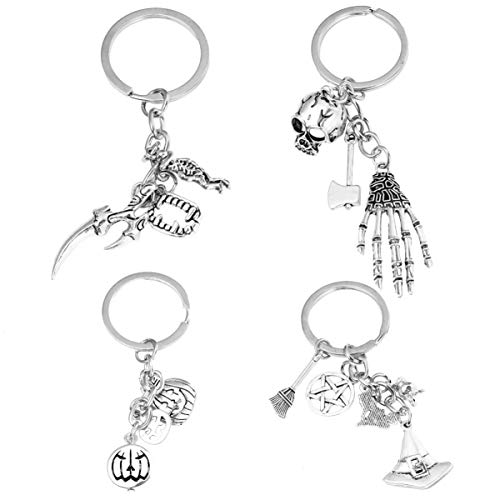 VILLCASE 4pcs Halloween Key Chain,Key Hanging Decor Creative Key Ring Skull Wizard Hanging Ornament Key Decoration Accessories(Silver)