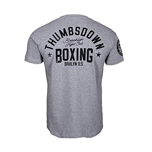 Thumbsdown Thumbs Down Boxeo Camiseta Brooklyn Fight Club MMA. Gimnasio Entrenamiento. Marcial Artes Informal - Gris, Large