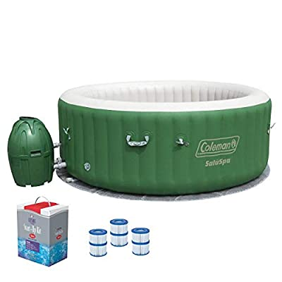 Coleman SaluSpa 6 Person Inflatable Outdoor Spa, Filters, & Chlorine Starter Kit