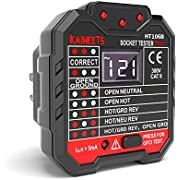 KAIWEETS Outlet Tester 48-250V, Receptacle Tester with Voltage Display, GFCI Tester CAT II 300V, Includes 7 Visual Indications and Wiring Legend for Home & Professional Use