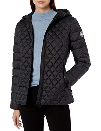Madden Girl Women's Fashion Outerwear Jacket, Engineered Quilted Black, L