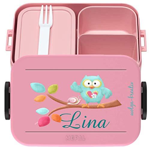 wolga-kreativ Brotdose Lunchbox Bento Box Kinder Eule am AST mit Namen Mepal Obsteinsatz für Mädchen Jungen personalisiert Brotbüchse Brotdosen Kindergarten Schule Schultüte füllen
