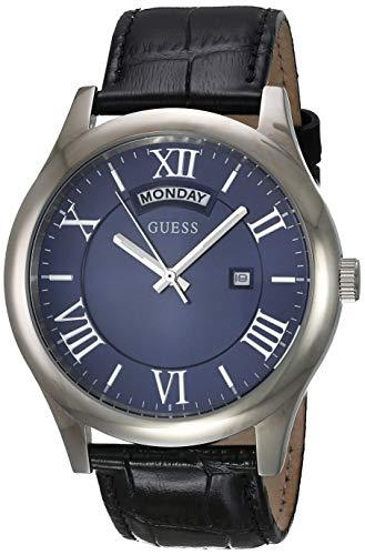 Guess Herren Analog Quarz Uhr mit Leder Armband W0792G1