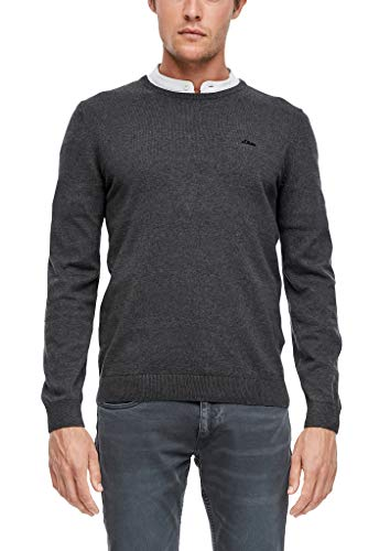 s.Oliver Herren Pullover mit Logo-Stitching black melange 3XL