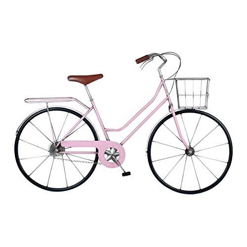 CAPRILO. Adorno de Pared Decorativo de Metal Bicicleta Rosa Vintage. Cuadros y Apliques. Vehículos. Muebles Auxiliares. Regalos Originales. Decoración para el Hogar. 80 x 4,50 x 50 cm.