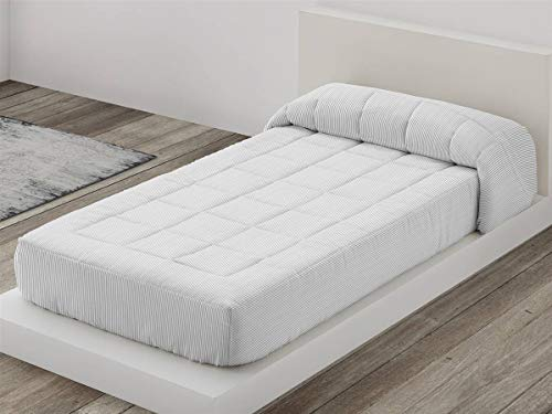 Camatex - Edredón Ajustable Raya Cama 90 - Color Gris