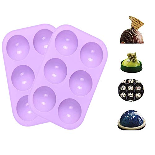 Chocolate Molds, 2pcs Silicone Mold for Chocolate, Cake, Jelly, Pudding, Round Shape Half Candy Molds Non Stick, BPA Free Silicone Molds for Baking