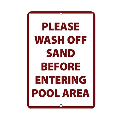 "Aluminiumschild mit Aufschrift ""Please Wash Off Sand Before Entering Pool Area"", 20,3 x 30,5 cm"