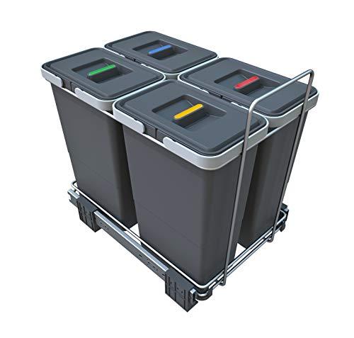ELLETIPI ecofil PF0134B3Papelera extraíble para Reciclar - Base, plástico y Metal, Color Gris, 30x 45x 36cm.