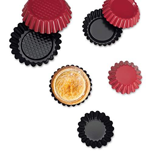 jiele Lot de 8 moules à Tartelette,moules à gâteaux, tartes, pudding, flan, en acier carbone anti-adhésifs en forme de fleur pour la pâtisserie (Rouge、Fer、8PCS)