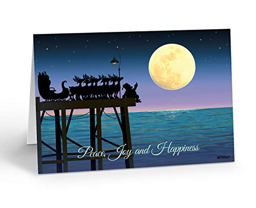 Stargazing on a Pier - Nautical Christmas Card - 18 Boxed Boating Cards and Envelopes