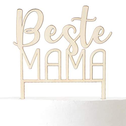 Cake Topper aus Holz: Beste Mama - Tortendekoration Muttertag/Geburtstag Kuchen