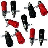 Aerzetix - Set di 10 connettori femmina da pannelo tipo banana rosso e nero.