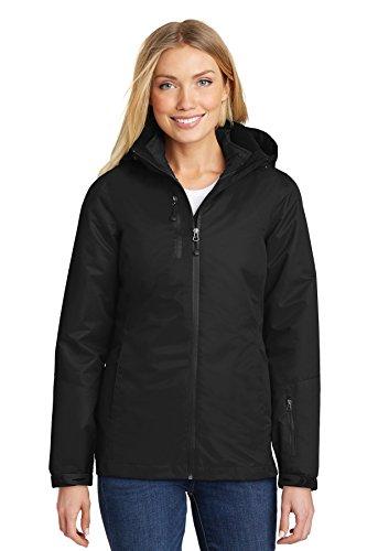 Port Authority Women's Vortex Waterproof 3-in-1 Jacket L332 Black/Black Medium
