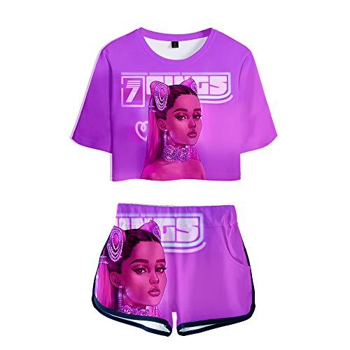 MR.YATCLS Ariana Grande Camiseta con Estampado 3D para Mujer Conjunto De Pantalones Cortos - Camiseta Casual De Manga Corta para Niñas De Moda Suelta Tops Chaleco