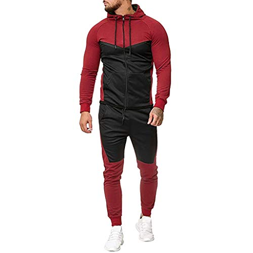 Men's Contrast Jogging Tracksuit Full Zipper Jacket Jogger Pants Muscle Outfits Casual Mockneck Hooded Sports Set by eipogp